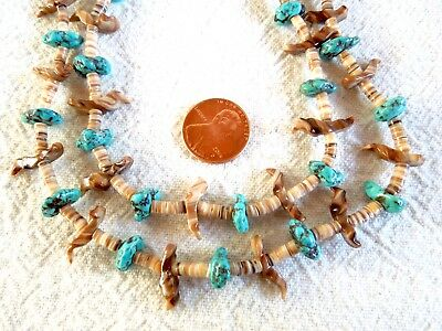Vintage HEISHI FETISH NECKLACE Double-Strand 30-Inch Turquoise Silver-Beads