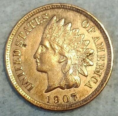 Uncirculated details 1907 Indian Head Cent! Sharp coin!