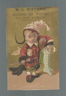 Victorian Trade Card. W.l. Rixford, Groceries; Winchester, Nh. Cute Chinese Boy