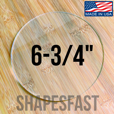 "Clear Acrylic Plexiglass 1/8"" Plastic Sheet Circle Disc 6-3/4"" (6.750) Diameter"
