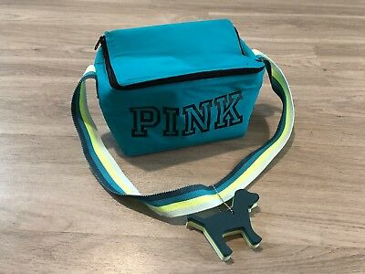 Victoria's Secret Pink Zip-Up BLUE Cooler Key Chain Dog Lunch Box Bag