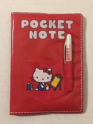 Vintage 1970s Sanrio Hello Kitty Pocket Note Book 1975 Paper Red Vinyl Japan
