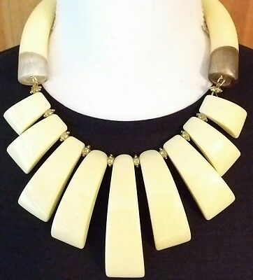 Amazing Banana Colored Chunky Celluloid  & Beads Slab Torque Statement Necklace