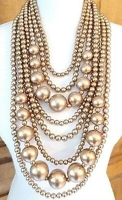 Omg!!! Multi Strand Graduated Golden Pearl Color Beads Statement Runway Necklace