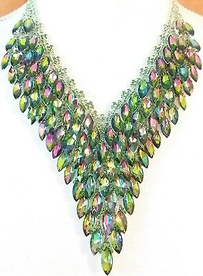 Wow! Watermelon Cascading Glass Crystal Leaves Bridal Wedding Statement Necklace