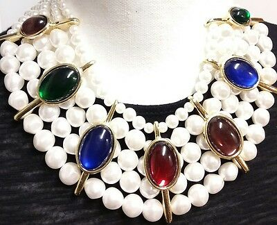 Stunning Colorful Resin Cabochon & Faux Pearl Heavy Mogul Runway Necklace