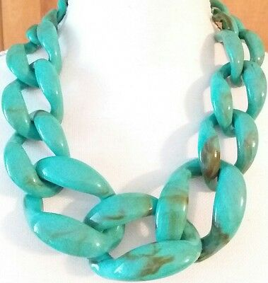Glamorous Marbled Turquoise Lucite Chain Link Runway Statement Necklace