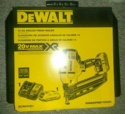 DEWALT 20V MAX CORDLESS 16GA 20 DEG ANGLED FINISH NAILER KIT dcn660d1