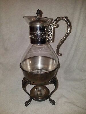 Vintage Rogers Silver Co .Silverplate Glass Tea/Coffee Warmer Stand and Carafe