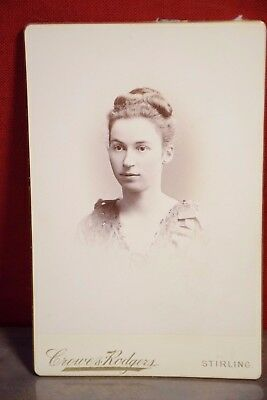 Crowe & Rogers Stirling England YOUNG WOMAN Cabinet Card Antique Photograph