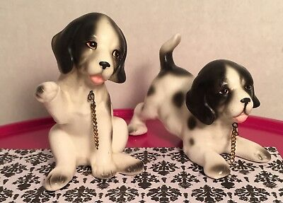 Vintage Lipper & Mann Spaniel Playful Puppies Figurines once a chained set