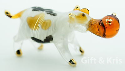 Figurine Hand Blown Glass Hippo Hippotamus No Painted w/ Painted Gold Trim - 002
