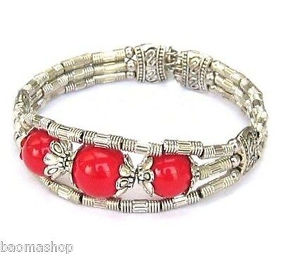 New In Tibet Style Tibetan Silver Coral Bangle