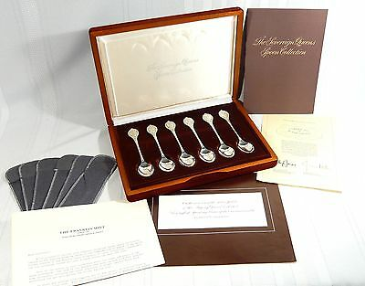 Cased Set 6 STERLING Silver Tea SPOONS Ltd Ed. Franklin Mint QUEENS COLLECTION