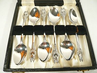 Cased 6 Quality Made Silver Plate Vintage WOLF CLUBS BOY SCOUTS  SPOONS 1950-60