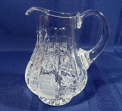 Small 5 3/4 inch  FINE Vintage Cut Crystal Pitcher Cut Glass