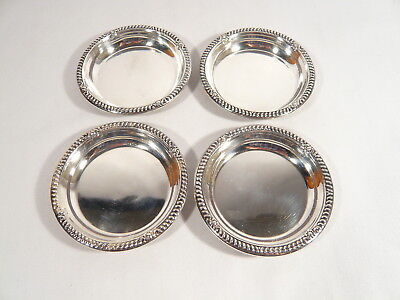 4 Birks STERLING SILVER COASTERS Nut Dishes Gadroon & Shell 125.4 grams
