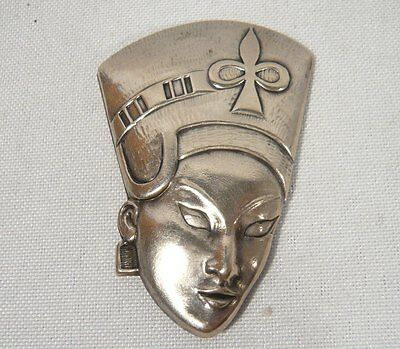 """Vintage Sterling Silver 2"""" SIGNED Truart Egypt Queen Head Brooch JEWELRY Signed"""