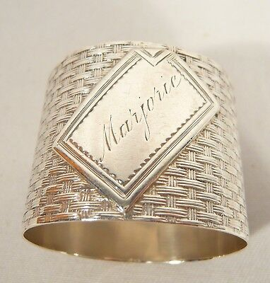 Rare 700 Solid Silver NAPKIN RING Letter Name Plate MARJORIE Basket Weave 589