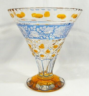"""RARE AMBER &  BLUE Bohemian  Crystal VASE 8""""  Flash Cut-to-Clear Glass Compote"""