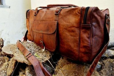 New Goat Hide Genuine Leather Luggage Travel Duffle Weekend Sport Gym Men's Bag