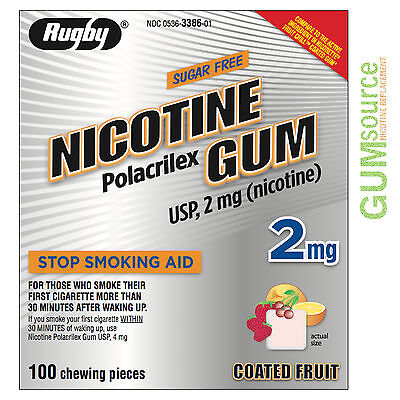 Rugby Nicotine Gum 2mg Coated Fruit  1 box 100 pieces