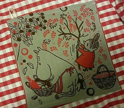 Moomin Little MY Embroidery Big Cotton Handkerchief Red