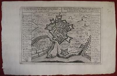 WESEL GERMANY 1690ca GASPAR BOUTTATS UNUSUAL ANTIQUE COPPER ENGRAVED CITY MAP