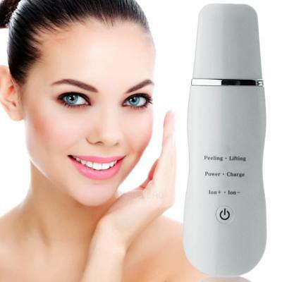 Ultrasonic Skin Scrubber Rechargeable Facial Peeling Massager Cleaner #gib