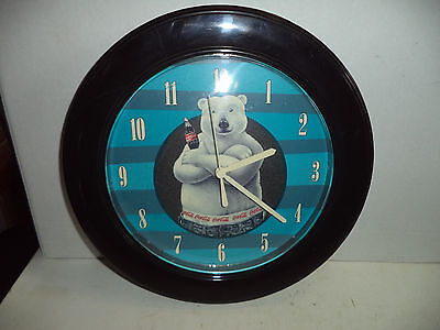 "Coca-Cola Advertising Wall Clock, Quartz 10"" Across Runs Well"