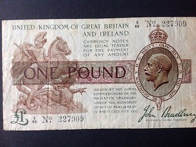 Bradbury 3rd Issue £1 Treasury Note E89 227909