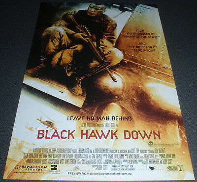 Promotional Movie Flyer : A4 : BLACK HAWK DOWN : Ridley Scott