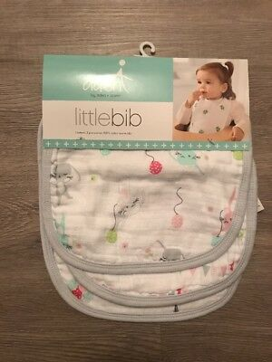 NWT aden + anais 3 Muslin Little bib Bunny And Bloons
