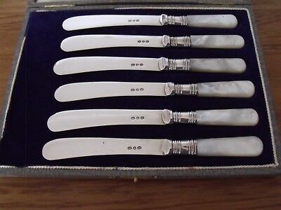 6 Silver Plated Butter Knives with Mother of Pearl Handles