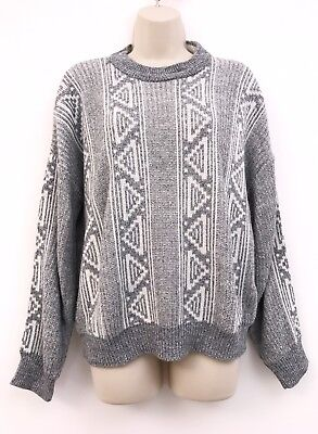Vintage St Michael Jumper Small 8 10 12 Unisex Grey White Blogger Aztec 90s