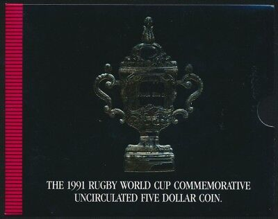 New Zealand 1991 Uncirculated $5 Coin Commemorates Rugby World Cup