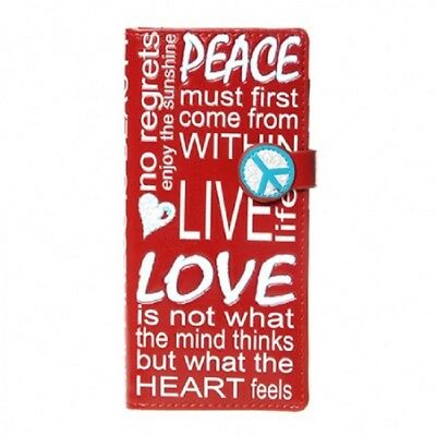 Large Wallet - Peace Love Beauty in Dark Red Design by ShagWear Canada DLWT0683