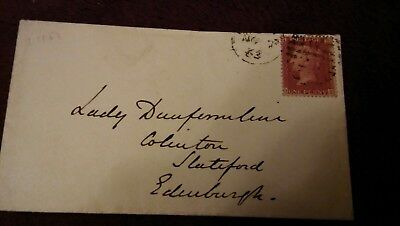 Great Britain 1d Red SG40 1863 on cover addressed to Lady Dunfermline