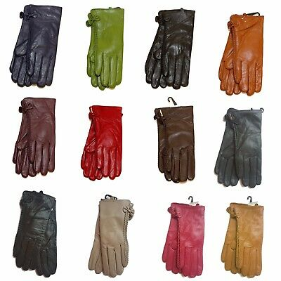 Ladies Soft Leather Gloves Women warm Winter Lined Small Side Bow Gloves New