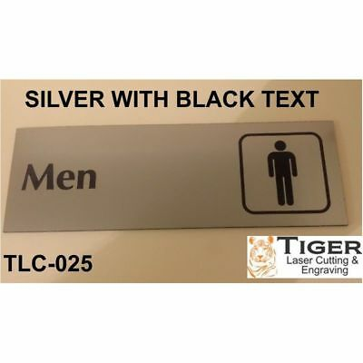 Engraved Bathroom Sign: Men Bathroom With Symbol 20Cm X 6.8Cm Or 8In X 2.67In