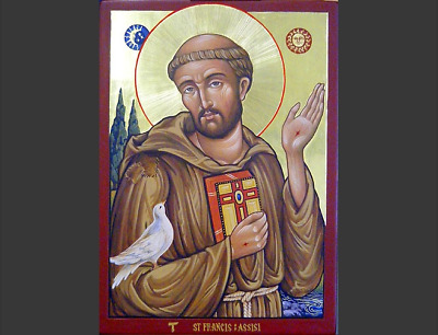 Saint Francis of Assisi Hand painted Byzantine icon 22k