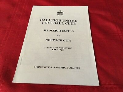 Hadleigh United v Norwich City Pre Season Friendly 1993