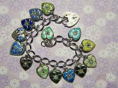 Vintage Sterling Silver Puffy Heart Charm Bracelet-14 enameled puffy heart charm