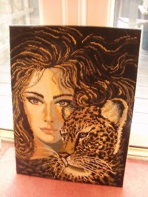 Handworked completed tapestry LADY WITH TIGER, SUNNING WORKMANSHIP