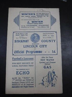 Stockport County v Lincoln City pre War 1934 1935 football programme
