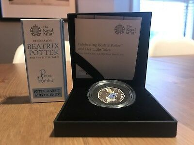 Rare 2017 50p Peter Rabbit Coloured Silver Proof Limited Edition Coin. Sold out.