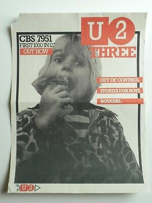 U2 THREE Out Of Control Promo Poster Litho CBS Out of Control - Super Rare