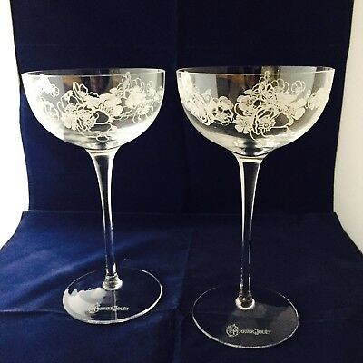 2 X Perrier Jouet Champagne Flutes Saucer Type Stunning New And Boxed