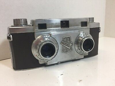 Vintage Revere 33 Stereo Camera Old with Leather Case
