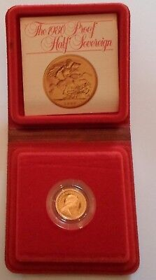1980  Gold Proof Half Sovereign. Cased in box with COA.